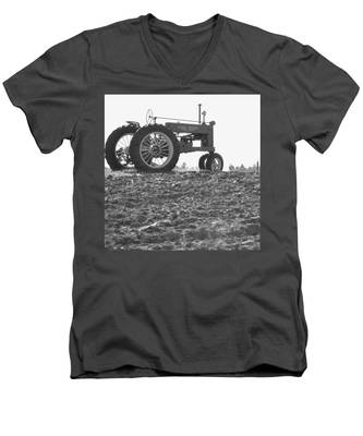 Old Tractor II In Black-and-white Men's V-Neck T-Shirt