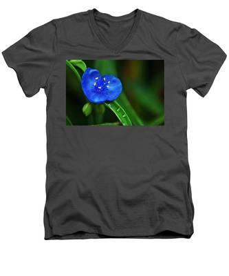 Yellow Blue And Raindrops Men's V-Neck T-Shirt