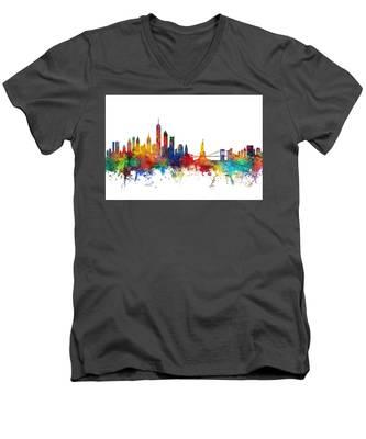 New York Skyline Men's V-Neck T-Shirt