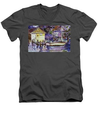 At Boat House 3 Men's V-Neck T-Shirt