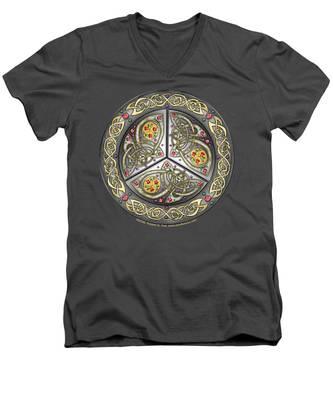 Bejeweled Celtic Shield Men's V-Neck T-Shirt