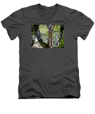 Bikes In A Tree Men's V-Neck T-Shirt