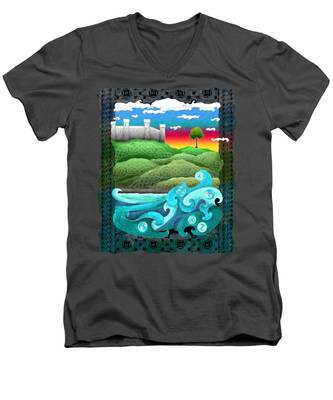 Celtic Castle Tor Men's V-Neck T-Shirt