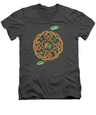 Celtic Nature Yin Yang Men's V-Neck T-Shirt