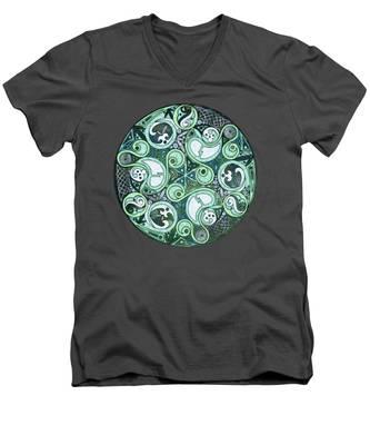 Celtic Stormy Sea Mandala Men's V-Neck T-Shirt