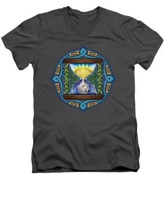 Celtic Sun Moon Hourglass Men's V-Neck T-Shirt