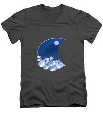 Cornflowers In The Moonlight Men's V-Neck T-Shirt