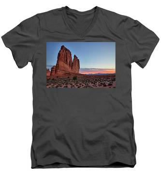 Men's V-Neck T-Shirt featuring the photograph Courthouse Towers Arches National Park At Dawn by Kyle Lee