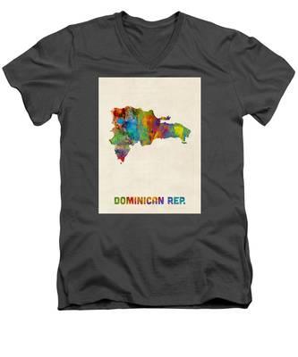 Dominican Republic Watercolor Map Men's V-Neck T-Shirt