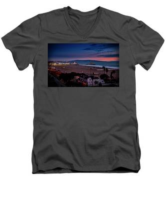 Evening Glow On The Pier Men's V-Neck T-Shirt