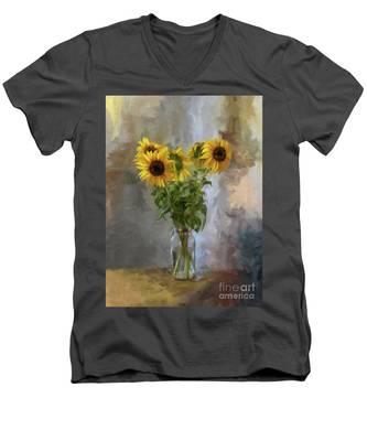 Five Sunflowers Centered Men's V-Neck T-Shirt