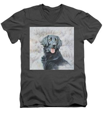 Flat Coated Retriever Portrait Men's V-Neck T-Shirt