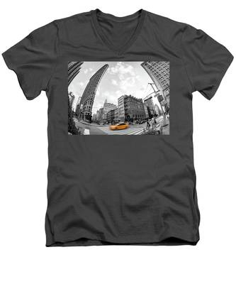 Flatiron Building With Iconic Yellow Taxi Men's V-Neck T-Shirt by Kyle Lee