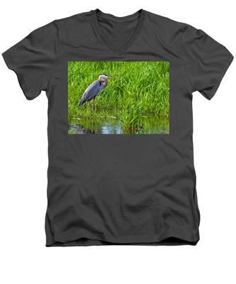 Great Blue Heron Waiting Men's V-Neck T-Shirt