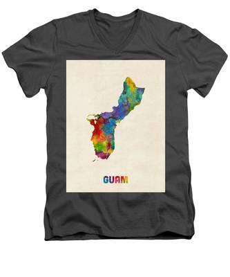 Guam Watercolor Map Men's V-Neck T-Shirt