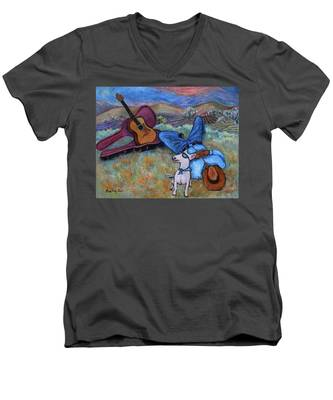 Guitar Doggy And Me In Wine Country Men's V-Neck T-Shirt