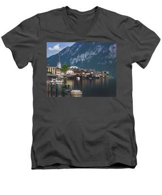 Hallstatt Lakeside Village In Austria Men's V-Neck T-Shirt