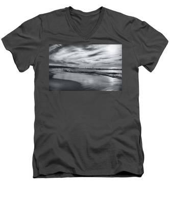 Hermosa Evening Black And White Men's V-Neck T-Shirt