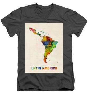Latin America Watercolor Map Men's V-Neck T-Shirt