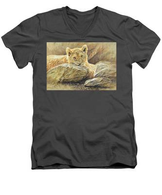 Lion Cub Study Men's V-Neck T-Shirt