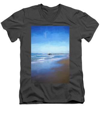 Manhattan Pier Blue Art Men's V-Neck T-Shirt