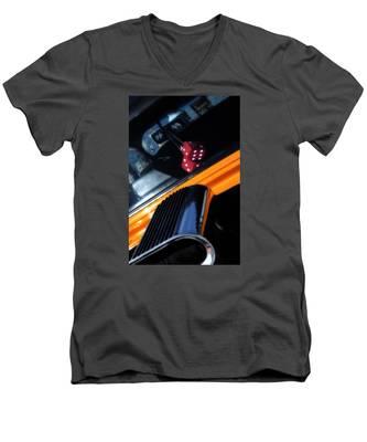 Midnight Dice In A Hot Rod Men's V-Neck T-Shirt