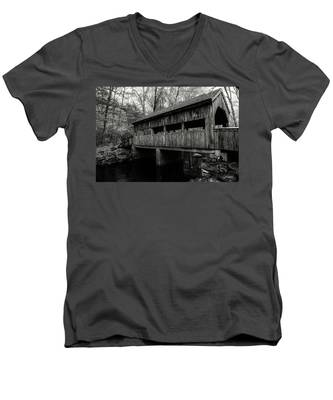 Men's V-Neck T-Shirt featuring the photograph New England Covered Bridge by Kyle Lee