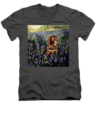 Otis In The Bluebonnets Men's V-Neck T-Shirt