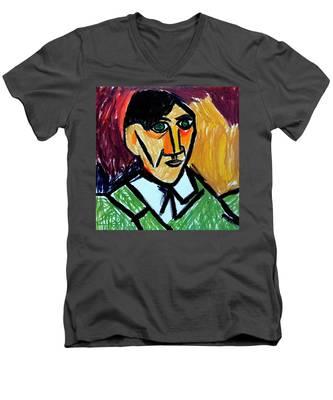 Pablo Picasso 1907 Self-portrait Remake Men's V-Neck T-Shirt