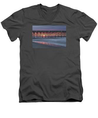Pier With Sunrise Men's V-Neck T-Shirt
