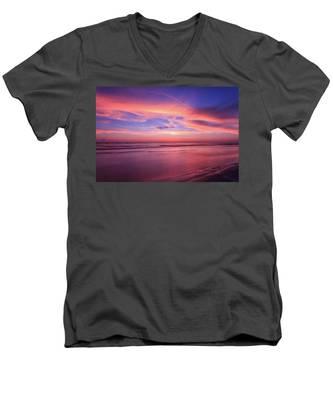 Pink Sky And Ocean Men's V-Neck T-Shirt