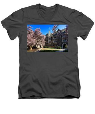 Princeton University Pyne Hall Courtyard Men's V-Neck T-Shirt