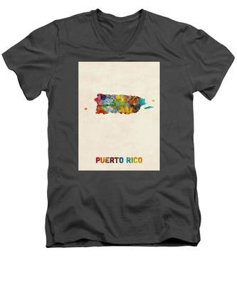 Puerto Rico Watercolor Map Men's V-Neck T-Shirt