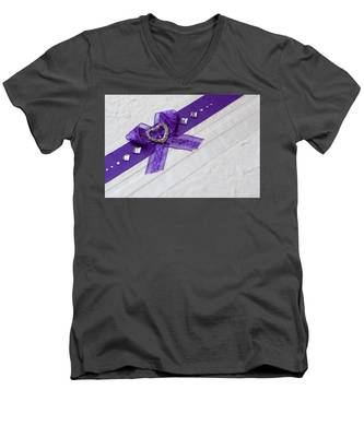 Purple Ribbon Heart Men's V-Neck T-Shirt