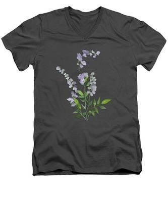 Purple Tiny Flowers Men's V-Neck T-Shirt