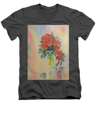 Red Roses For My Valentine Men's V-Neck T-Shirt
