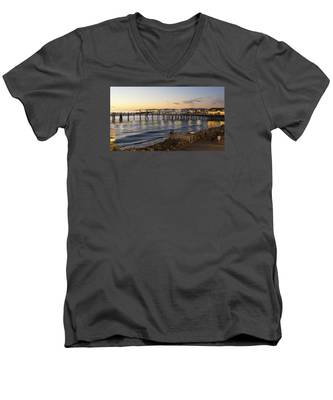 Redondo Pier At Sunset Men's V-Neck T-Shirt