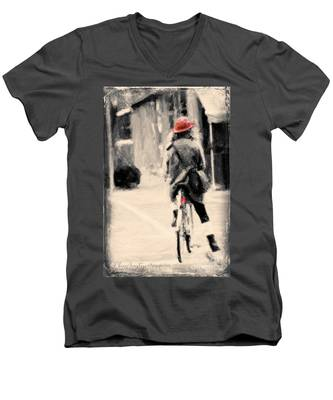 Riding My Bicycle In A Red Hat Men's V-Neck T-Shirt