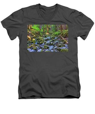 Men's V-Neck T-Shirt featuring the photograph Riverbed Full Of Mossy Stones With Small Cascade by Kyle Lee