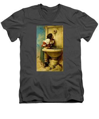 Roman Girl At A Fountain Men's V-Neck T-Shirt