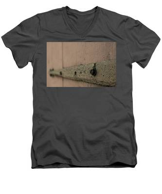 Men's V-Neck T-Shirt featuring the photograph Rusty Barn Door Hinge by Kyle Lee