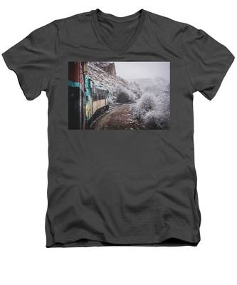 Snowy Verde Canyon Railroad Men's V-Neck T-Shirt
