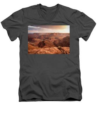 Men's V-Neck T-Shirt featuring the photograph Storm Over Canyonlands by Kyle Lee