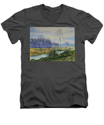 Stream In Flood On Strensall Common Men's V-Neck T-Shirt