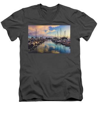Sunset At Dana Point Harbor Men's V-Neck T-Shirt
