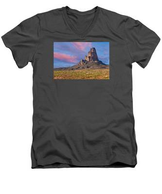 Sunset On Agathla Peak Men's V-Neck T-Shirt