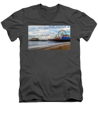 The Pier On A Cloudy Day Men's V-Neck T-Shirt