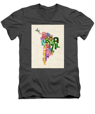 Typography Map Of Central And South America Men's V-Neck T-Shirt