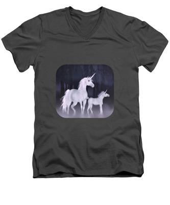 Unicorns In The Mist Men's V-Neck T-Shirt