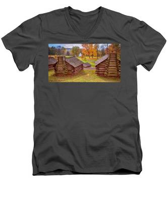 Valley Forge Huts In Fall Men's V-Neck T-Shirt